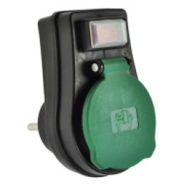 Instalační zásuvka SOLIGHT, průběžná IP44, 16A, černá, vypínač, kryt zásuvky P98